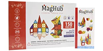 3585e7fa 7c1f 4e08 a7ad a383c70b724f.  CR0,0,1050,525 PT0 SX350 V1    - MagHub 150PCS Kids 3D Magnetic Building Blocks with Car Alphabet, Magnetic Tiles Shape Set, Magnet Toys Construction Playboards, Learning Educational Gifts for Preschool Toddler Children