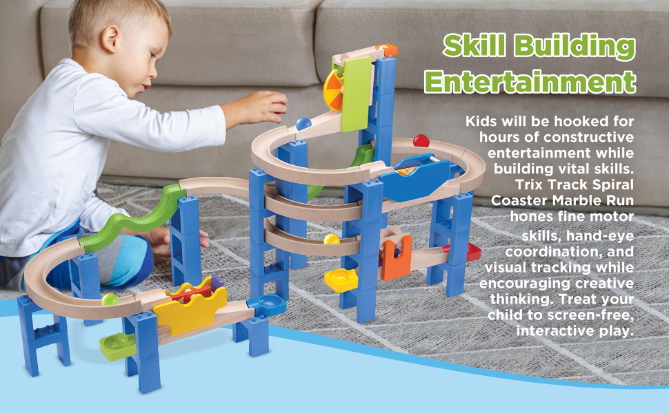 35a14356 56a4 4364 bab7 0ce7a6f2f3aa.  CR0,0,970,600 PT0 SX970 V1    - Top Right Toys Trix Track Spiral Coaster Wooden Marble Run for Kids with 55 Construction Pieces and 4 Balls. Maze Assembly Instructions Included