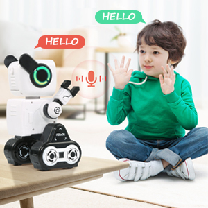 35e77f7f 9a67 4bd2 ac30 d50e5cb745bd.  CR0,0,300,300 PT0 SX300 V1    - Robots for Kids, Remote Control Robot Toy Intelligent Interactive Robot LED Light Speaks Dance Moves Built-in Coin Bank Programmable Rechargeable RC Robot Kit (White)