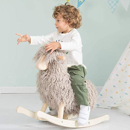 41 sHg5uFzL. AC  - labebe - Wooden Rocking Horse Rocker Sheep Grey, Plush Rockiong Animal for Child 1-3 Year Old, Wooden Kid Ride On Toy Stuffed for Infant/Toddler Girl&Boy, Nursery Birthday Gift (No Assembly Required)