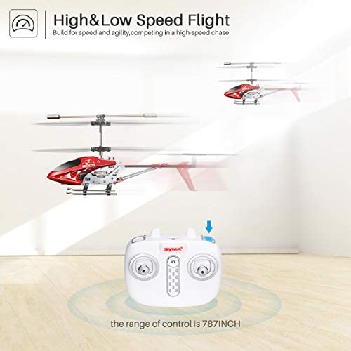 412MMIxYM4L. AC  - Remote Control Helicopter, S107H-E Aircraft with Altitude Hold, One Key take Off/Landing, 3.5 Channel, Gyro Stabilizer and High &Low Speed, LED Light for Indoor to Fly for Kids and Beginners(Red)