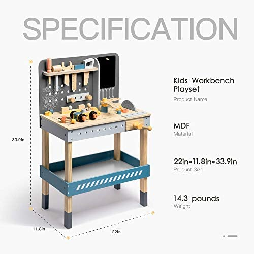 415x2A4WxHL. AC  - ROBUD Wooden Tool Workbench for Kids Toddlers, Toy Tools Set Gift for 1 2 3 4 Years Old and Up
