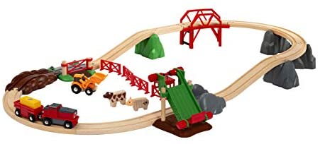 419MSSIxrxL. AC  - Brio 33984 Animal Farm Set   Wooden Toy Train Set for Kids Age 3 and Up