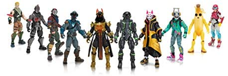 """41EOS9vXEfL. AC  - Fortnite The Chapter 1 Collection - Ten 4"""" Action Figures, Featuring Recruit (Jonesy), Black Knight, Rust Lord, The Visitor, Drift, DJ Yonder, Ice King (Gold), Peely, Rox, Eternal Voyager"""