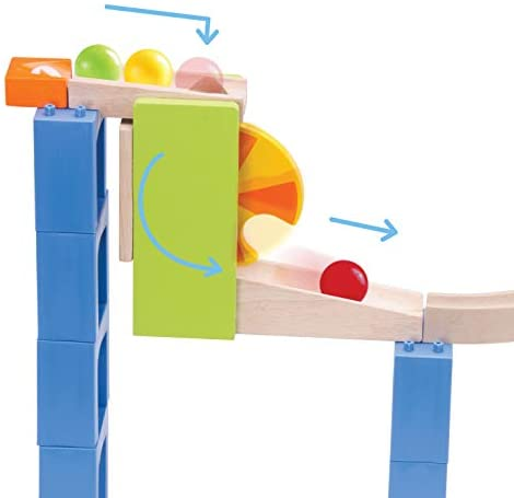 41G4JTSn2tL. AC  - Top Right Toys Trix Track Spiral Coaster Wooden Marble Run for Kids with 55 Construction Pieces and 4 Balls. Maze Assembly Instructions Included