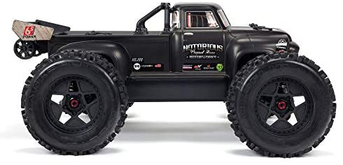 41IHQ6l58YL. AC  - ARRMA 1/8 Notorious 6S V5 4WD BLX Stunt RC Truck with Spektrum Firma RTR (Transmitter and Receiver Included, Batteries and Charger Required), Black, ARA8611V5T1