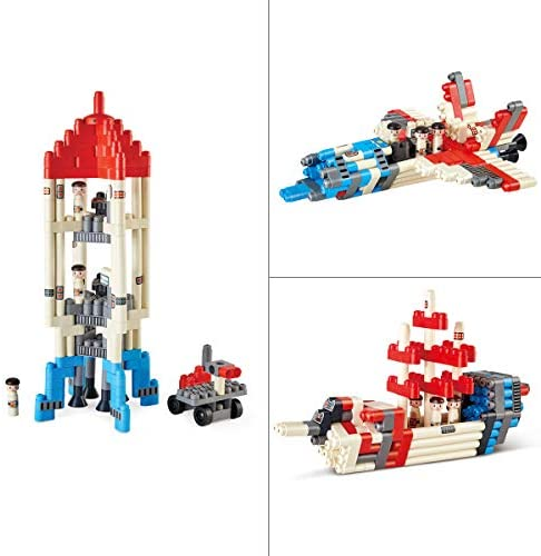 41L2v8OxwkL. AC  - Hape PolyM Space Adventure Rocket Construction Kit | 138 Piece Building Brick Toy Play Set for Kids - Figurines and Accessories Included
