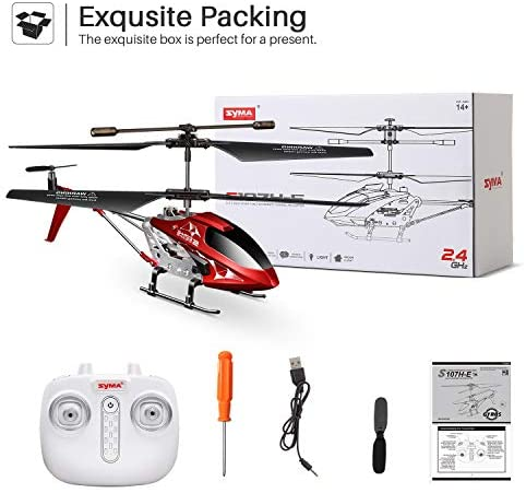 41LxnwS5dpL. AC  - Remote Control Helicopter, S107H-E Aircraft with Altitude Hold, One Key take Off/Landing, 3.5 Channel, Gyro Stabilizer and High &Low Speed, LED Light for Indoor to Fly for Kids and Beginners(Red)
