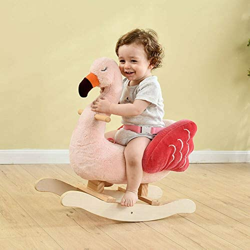 41MHTxD5p3L. AC  - labebe Baby Rocking Horse - Flamingo Baby Plush Rocker Toys, Plush Wooden Riding Horse for 1-3 Years Boy&Girl, Toddler Outdoor&Indooor Toy Rocker, Plush Animal Rocker, Infant Gift Flamingo