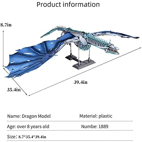 41OYBjWl8GS. AC  - LEBLOCK Building Toys for Boys, Dragon Set Construction 1889 Pieces Building Bricks Blue Ice Dragon with Wings Engineering Toy Building Blocks Display Collection Great Gift for Adult