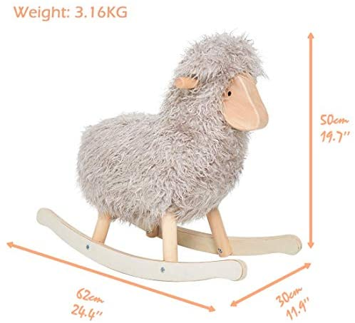 41RjxEnk0wL. AC  - labebe - Wooden Rocking Horse Rocker Sheep Grey, Plush Rockiong Animal for Child 1-3 Year Old, Wooden Kid Ride On Toy Stuffed for Infant/Toddler Girl&Boy, Nursery Birthday Gift (No Assembly Required)