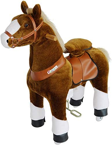 41S2Y1sTtlL. AC  - PonyCycle Official Ride-On Horse No Battery No Electricity Mechanical Pony Brown with White Hoof Giddy up Pony Plush Walking Animal for Age 4-9 Years Medium Size - N4151