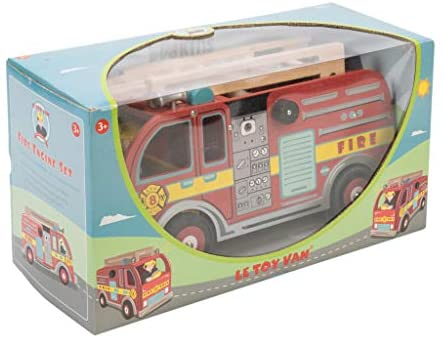 41VKyH2bhFL. AC  - Le Toy Van Cars & Construction Collection Wooden Fire Engine Set Premium Wooden Toys for Kids Ages 3 Years & Up, Multi