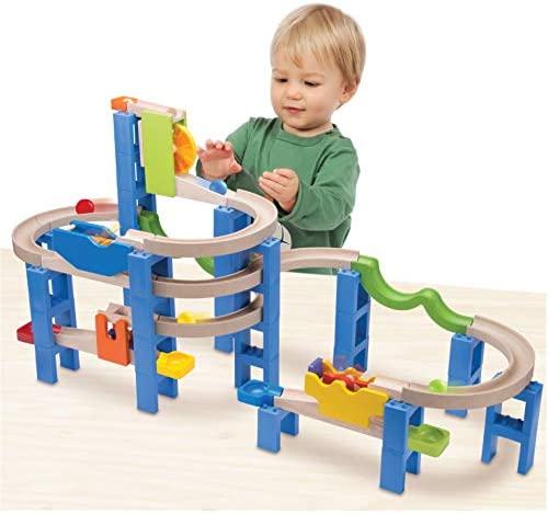 41WreIpJOSL. AC  - Top Right Toys Trix Track Spiral Coaster Wooden Marble Run for Kids with 55 Construction Pieces and 4 Balls. Maze Assembly Instructions Included