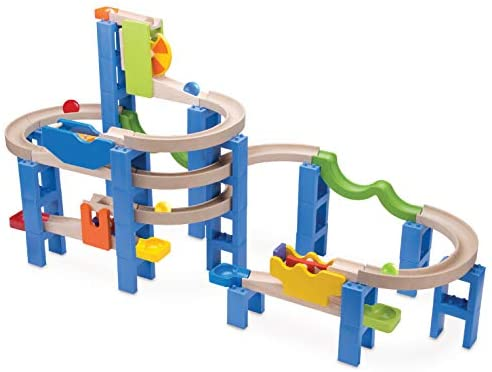 41Zqz609WyL. AC  - Top Right Toys Trix Track Spiral Coaster Wooden Marble Run for Kids with 55 Construction Pieces and 4 Balls. Maze Assembly Instructions Included
