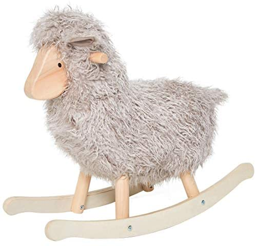 41b5rx  otL. AC  - labebe - Wooden Rocking Horse Rocker Sheep Grey, Plush Rockiong Animal for Child 1-3 Year Old, Wooden Kid Ride On Toy Stuffed for Infant/Toddler Girl&Boy, Nursery Birthday Gift (No Assembly Required)