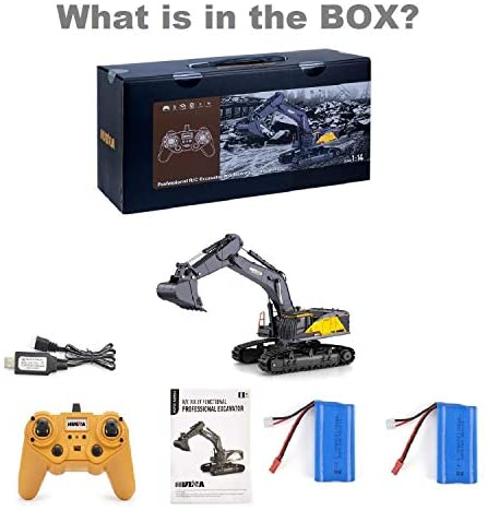 41cWqCX2oDL. AC  - HUINA 1592 Fully Functional 1:14 Scale 22 Channel Remote Control Excavator RC Toy Truck Construction Vehicle with Metal Bucket and LED Lights and Simulating Sounds – 2 Rechargeable Batteries