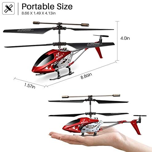 41etAlmKMnL. AC  - Remote Control Helicopter, S107H-E Aircraft with Altitude Hold, One Key take Off/Landing, 3.5 Channel, Gyro Stabilizer and High &Low Speed, LED Light for Indoor to Fly for Kids and Beginners(Red)