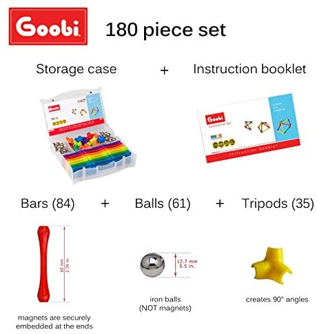 41evygxRPcL. AC  - Goobi 180 Piece Construction Set Building Toy Active Play Sticks STEM Learning Creativity Imagination Children's 3D Puzzle Educational Brain Toys for Kids Boys and Girls with Instruction Booklet