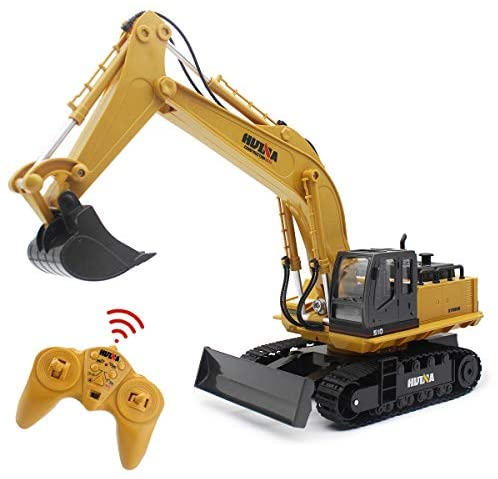 41fSkGElQRL. AC  - Fisca Remote Control Excavator RC Digger, 2.4Ghz 11 Channel Construction Vehicle Full Function Toy Metal Shovel with Lights and Sound