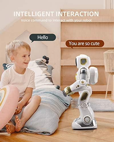 41feZDpmfNL. AC  - Ruko AI Robots for Kids, Large Programmable RC Robot Toy with APP Control Voice Command Touch Response Bluetooth Speaker Emoji for 3-12 Years Old Boys Girls (Golden)
