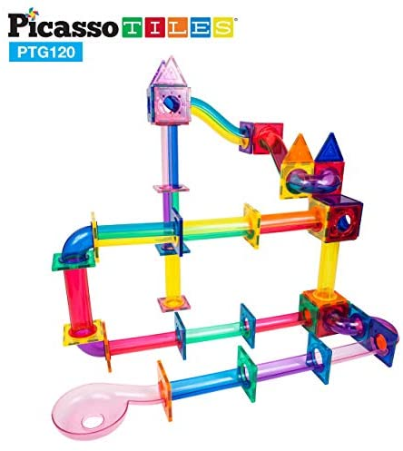 41fgXMw2NPL. AC  - PicassoTiles Marble Run 120 Piece Magnetic Building Blocks Magnet Tile Construction Toy Playset STEM Learning Educational Block Child Brain Development Kids Toys for Boys and Girls Age 3 and Up