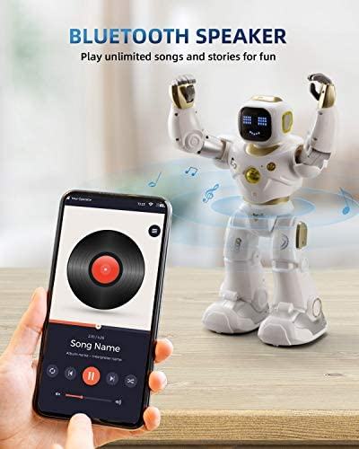 41fkDwwzcaL. AC  - Ruko AI Robots for Kids, Large Programmable RC Robot Toy with APP Control Voice Command Touch Response Bluetooth Speaker Emoji for 3-12 Years Old Boys Girls (Golden)