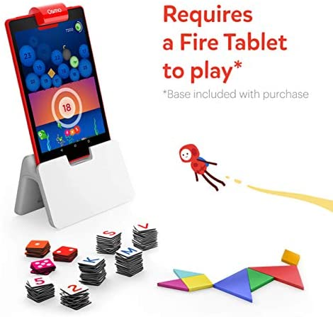 41lGM19pN5L. AC  - Osmo - Genius Starter Kit for Fire Tablet -Ages 6-10 - Math, Spelling, Creativity & More - STEM Toy (Osmo iPad Base Included), 5 Educational Learning Games (Amazon Exclusive)