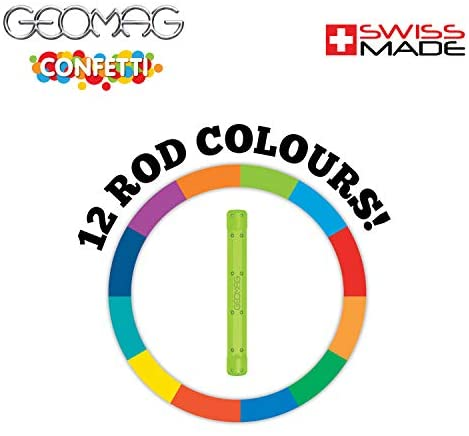 41lRjXcXonL. AC  - Geomag Magnetic Sticks and Balls Building Set   Magnet Toys for STEM, Creative, Educational Construction Play   Swiss-made Innovation   Confetti 88 Piece Age 3+, Light blue, orange, green, red
