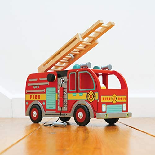 41nD9 PU0rL. AC  - Le Toy Van Cars & Construction Collection Wooden Fire Engine Set Premium Wooden Toys for Kids Ages 3 Years & Up, Multi
