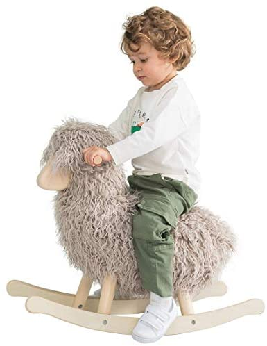41rtLxVuZeL. AC  - labebe - Wooden Rocking Horse Rocker Sheep Grey, Plush Rockiong Animal for Child 1-3 Year Old, Wooden Kid Ride On Toy Stuffed for Infant/Toddler Girl&Boy, Nursery Birthday Gift (No Assembly Required)