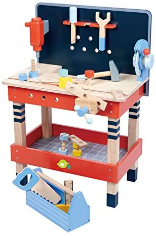 41v1F+RDOQL. AC  - Tender Leaf Toys - Tender Leaf Tool Bench - 18 Pieces Pretend Play Construction Tool Set Made with Premium Materials and Craftsmanship - Creates Interest in DIY and Creative Role Play for Children 3+