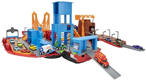 41xhhlvBK1L. AC  - Micro Machines Super Van City Playset - Includes 12 MM Vehicles, Working Bridge, Construction Site, High Rise Building, Drag Strip, Ramps - Collect Them All - Amazon Exclusive