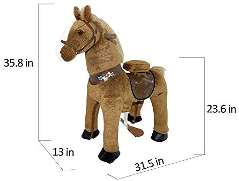41zB4v5n3wL. AC  - WondeRides Ride on Horse Toy Plush Walking Animal Giddy up Pony Mechanical Riding Horse Medium for Age 4-9 (35.8 Inch Height), Walking Horse Toy with Wheels