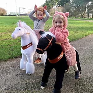 480c9478 9d34 4192 a56e 8be1caa71f79. CR49,98,976,976 PT0 SX300   - PonyCycle Official Ride-On Horse No Battery No Electricity Mechanical Pony Brown with White Hoof Giddy up Pony Plush Walking Animal for Age 4-9 Years Medium Size - N4151