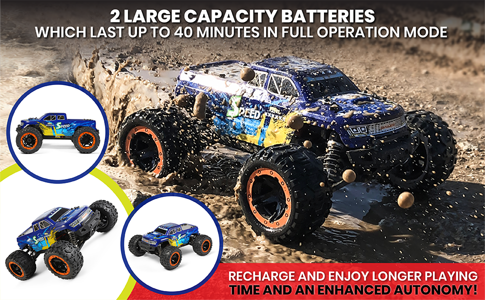 4de6eb81 c367 4edb 8d4b d510874653d2.  CR0,0,970,600 PT0 SX970 V1    - MIEBELY Fast RC Cars – 4x4 Remote Control Car for Adults and Kids – 1:16 Scale Electric Powered 40km High Speed – 4WD All Terrain Off Road Truck – Ideal for Kids and Adults – 2 Rechargeable Batteries