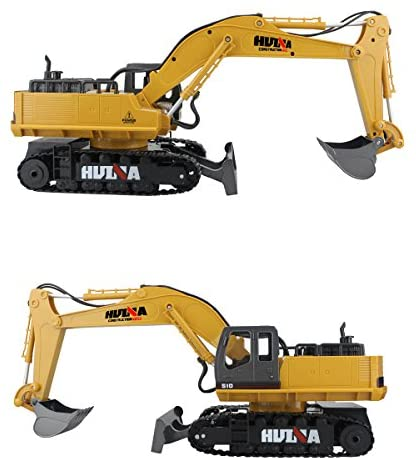 51+K e4szzL. AC  - Fisca Remote Control Excavator RC Digger, 2.4Ghz 11 Channel Construction Vehicle Full Function Toy Metal Shovel with Lights and Sound