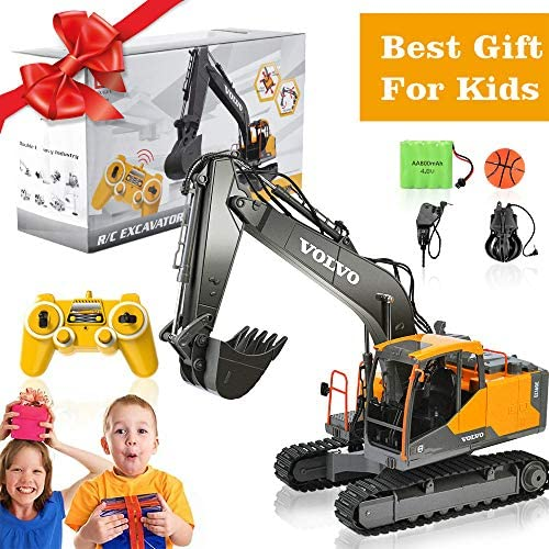 51 oBFJUGiL. AC  - Volvo RC Excavator 3 in 1 Construction Truck Metal Shovel and Drill 17 Channel 1/16 Scale Full Functional with 2 Bonus Tools Hydraulic Electric Remote Control Excavator Construction Tractor