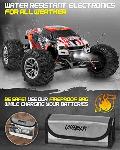 5100pcfdI8L. AC  - 1:10 Scale Large RC Cars 48+ kmh Speed - Boys Remote Control Car 4x4 Off Road Monster Truck Electric - All Terrain Waterproof Toys Trucks for Kids and Adults - 2 Batteries + Connector for 40+ Min Play