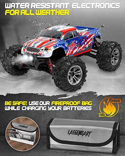 510M9yLuZIL. AC  - 1:16 Scale Large RC Cars 36+ kmh Speed - Boys Remote Control Car 4x4 Off Road Monster Truck Electric - All Terrain Waterproof Toys Trucks for Kids and Adults - 2 Batteries + Connector for 40+ Min Play