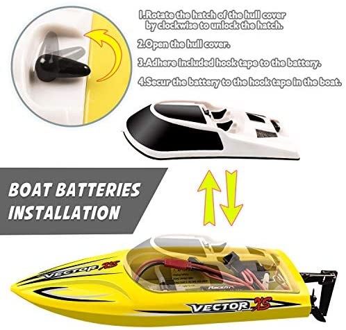 510bRsP9fyL. AC  - YEZI Remote Control Boat for Pools & Lakes,Udi001 Venom Fast RC Boat for Kids & Adults,Self Righting Remote Controlled Boat W/Extra Battery (Yellow)