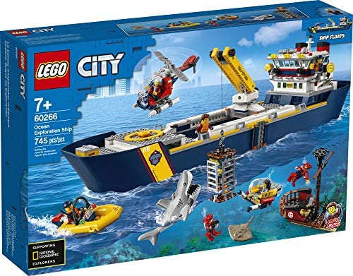 510qeFag0DL. AC  - LEGO City Ocean Exploration Ship 60266, Toy Exploration Vessel, Mini Helicopter, Submarine, Shipwreck with Treasure, Lifeboat, Stingray, Shark, Plus 8 Minifigures, New 2020 (745 Pieces)