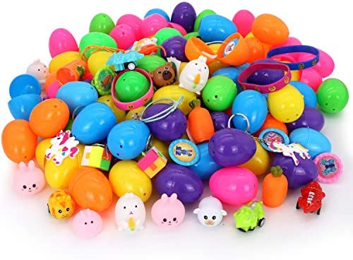 """510uVua QuL. AC  - 200 Pcs Prefilled Colorful Easter Eggs w/Novelty Toys and Stickers 2 3/8"""" for Filling Treats, Easter Theme Party Favor, Easter Eggs Hunt, Basket Stuffers Fillers, Classroom Prize Supplies Toy"""