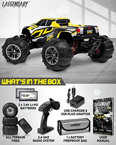 511iLCedk+L. AC  - 1:16 Brushless Large RC Cars 55+ kmh Speed - Kids and Adults Remote Control Car 4x4 Off Road Monster Truck Electric - All Terrain Waterproof Toys Trucks for Boys, Girls - 2 Batteries for 40+ Min Play