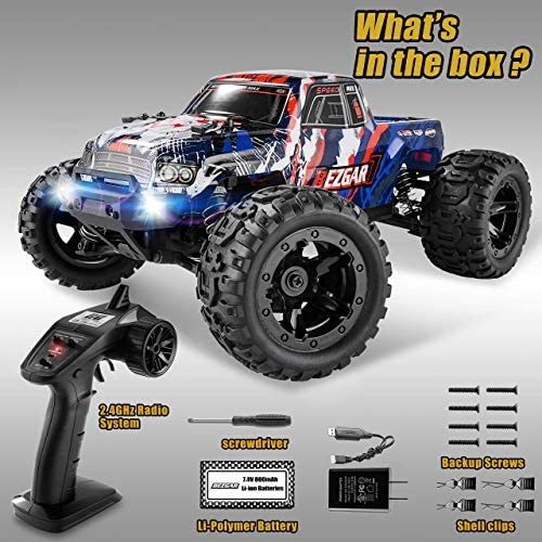 512022YJcaL. AC  - BEZGAR 7 Hobby Grade 1:16 Scale Remote Control Truck, 4WD High Speed 40+ Kmh All Terrains Electric Toy Off Road RC Monster Vehicle Car Crawler with Rechargeable Batteries for Boys Kids and Adults