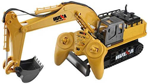 512TntpUWaL. AC  - Fisca Remote Control Excavator RC Digger, 2.4Ghz 11 Channel Construction Vehicle Full Function Toy Metal Shovel with Lights and Sound