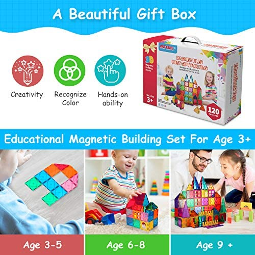 512UhX+qnzL. AC  - VATENIC 120PCS Kids Magnetic Tiles Building Blocks 2 Car Set Color Magnetic Blocks Toys for Kids Children,Educational Learning Building Toys Birthday Gifts for Boys Girls Age 3 4 5 6 7 8 9 10 Year Old