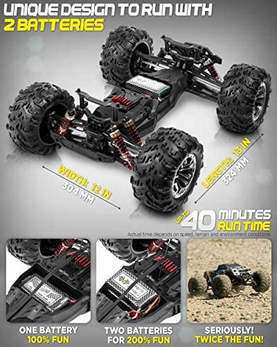 512Ul2BT8ML. AC  - 1:10 Scale Large RC Cars 48+ kmh Speed - Boys Remote Control Car 4x4 Off Road Monster Truck Electric - All Terrain Waterproof Toys Trucks for Kids and Adults - 2 Batteries + Connector for 40+ Min Play
