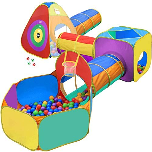 512wyDYE9DL. AC  - Gift for Toddler Boys & Girls, Ball Pit, Play Tent and Tunnels for Kids, Best Birthday Gift for 1 2 3 4 5 Year old Pop Up Baby Play Toy, Target Game w/ 4 Darts Indoor & Outdoor, Pit Balls Not Included