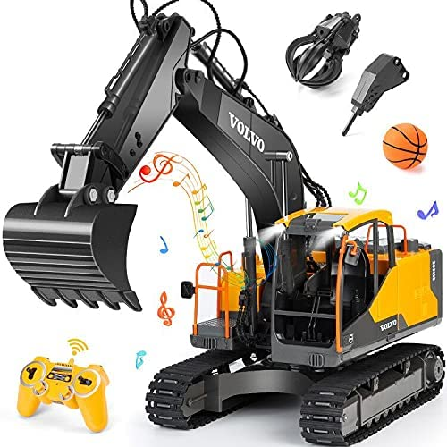 513cqTSLvOS. AC  - Volvo RC Excavator 3 in 1 Construction Truck Metal Shovel and Drill 17 Channel 1/16 Scale Full Functional with 2 Bonus Tools Hydraulic Electric Remote Control Excavator Construction Tractor